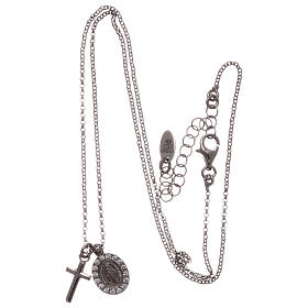 AMEN necklace in rhodium-plated 925 silver with cross and medal s3