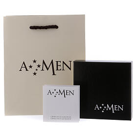 AMEN necklace in rhodium-plated 925 silver with cross and medal s4