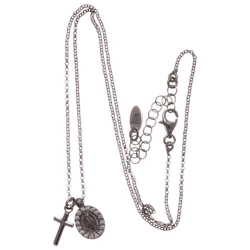AMEN necklace in rhodium-plated 925 silver with cross and medal 3
