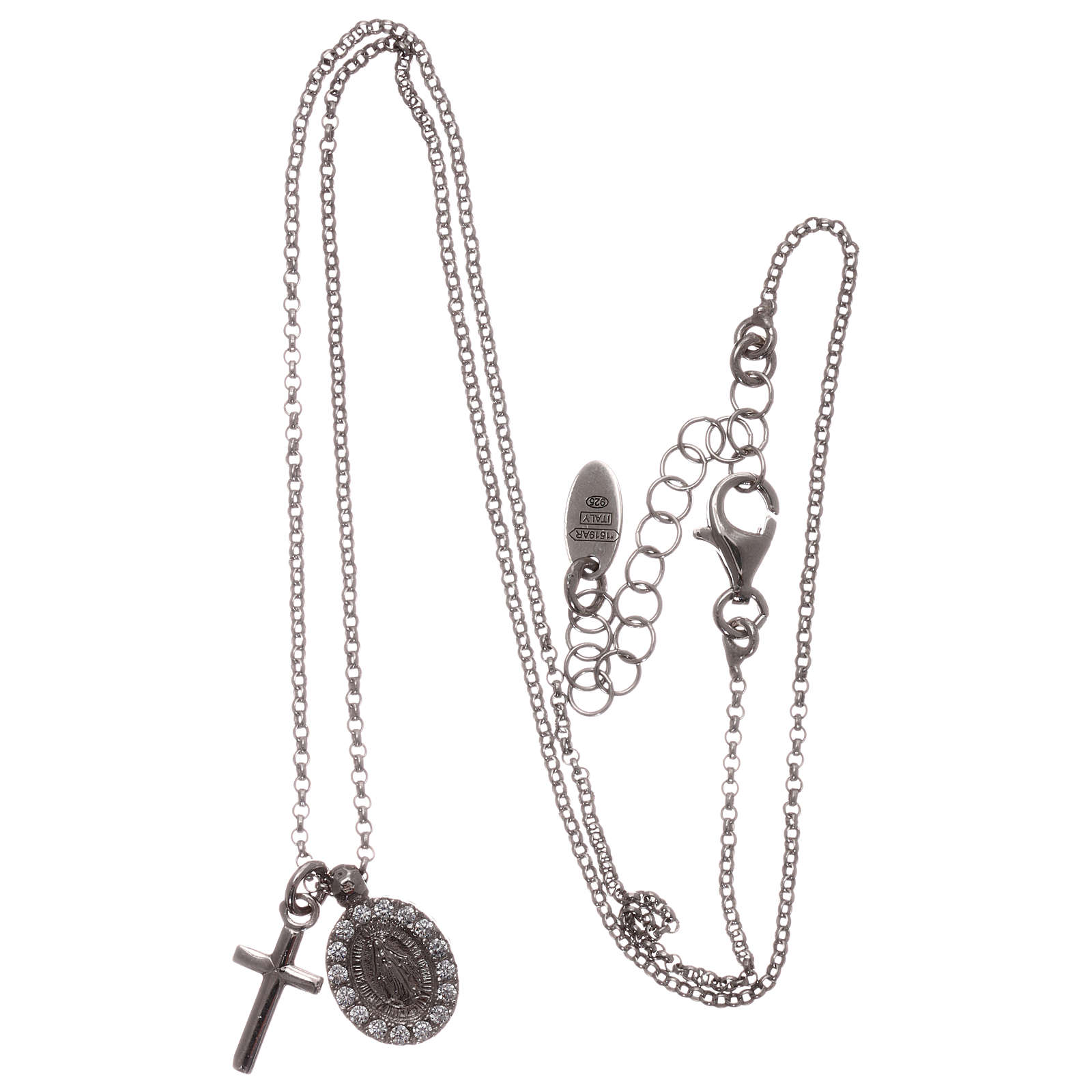 Collar AMEN plata 925 rodiada zircones blancos cruz virgen milagrosa 4