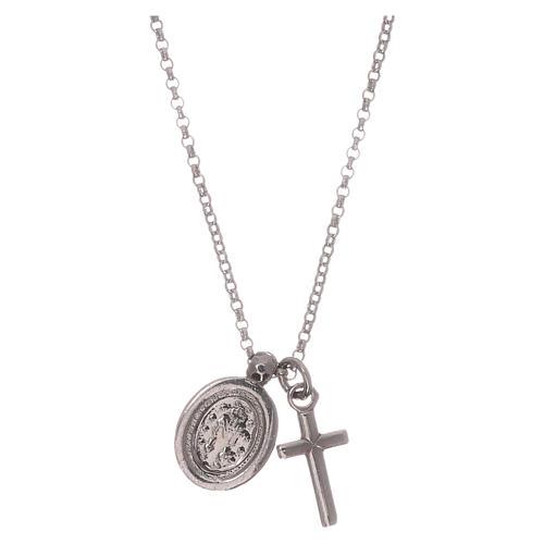 Collar AMEN plata 925 rodiada zircones blancos cruz virgen milagrosa 2
