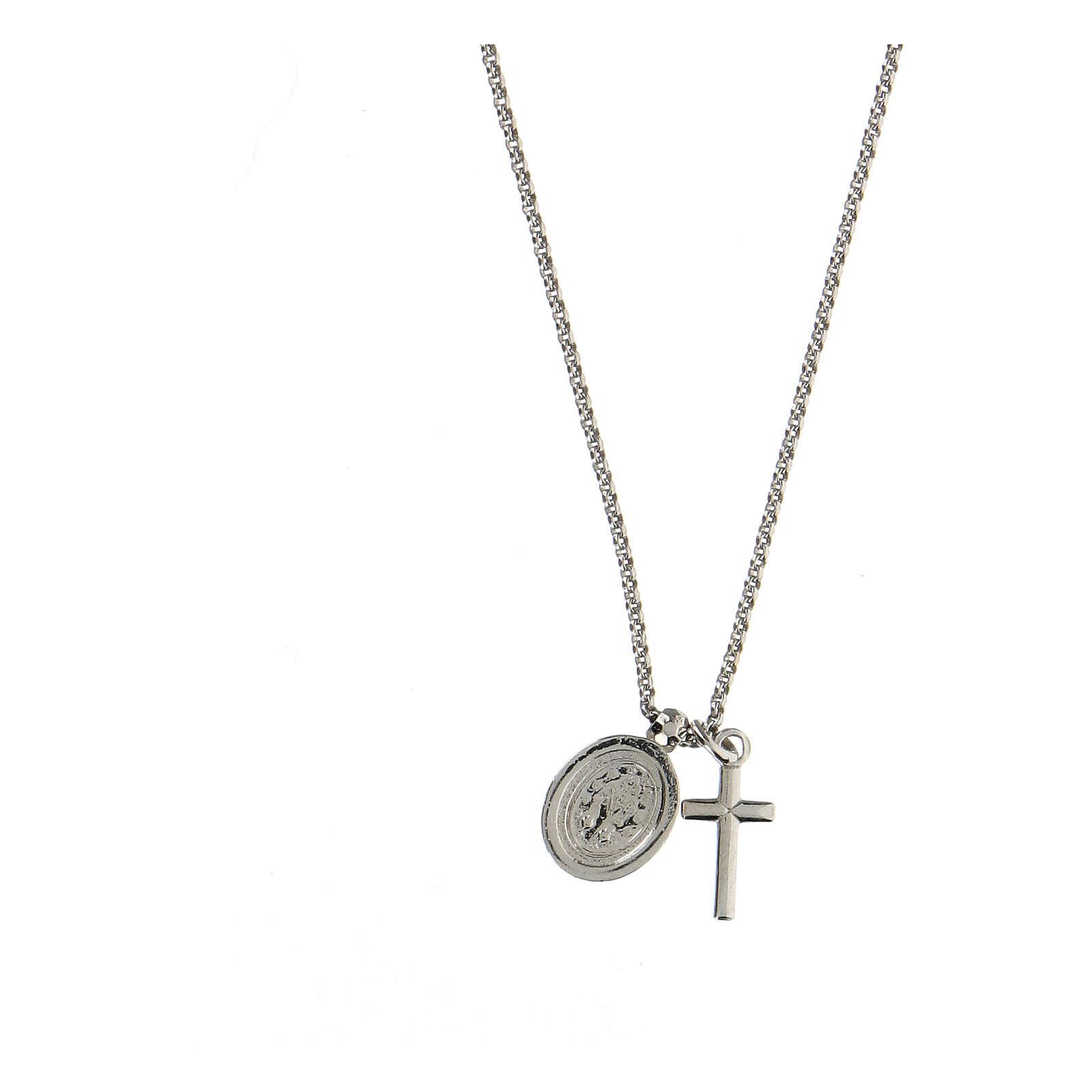 Collier AMEN argent 925 rhodié zircons blancs croix Vierge Miraculeuse 4