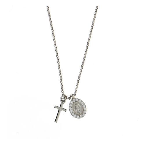 Collier AMEN argent 925 rhodié zircons blancs croix Vierge Miraculeuse 1