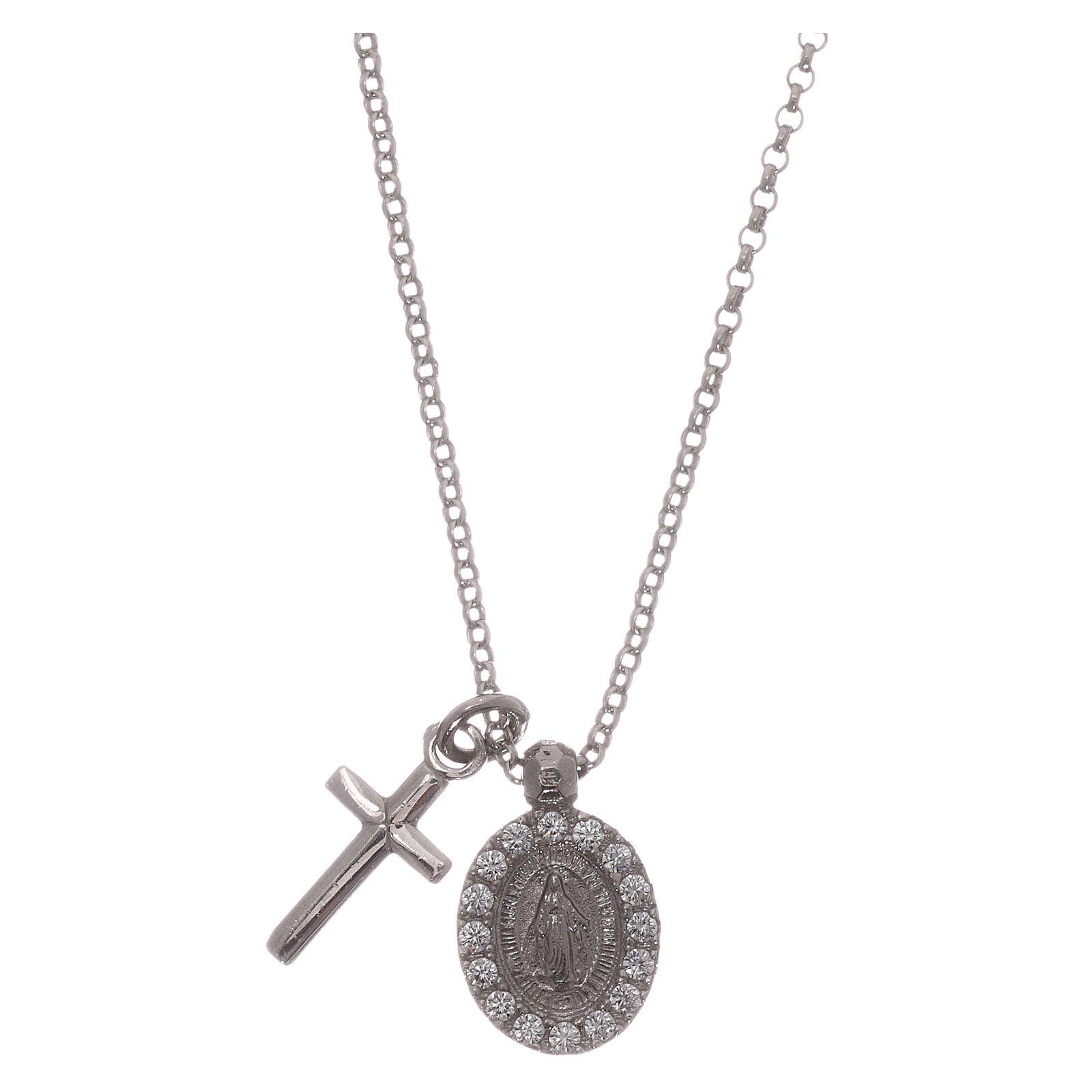 Naszyjnik AMEN ag 925 rodowane cyrkonie białe Krzyż Cudowna Madonna 4