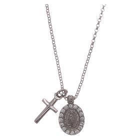 Naszyjnik AMEN ag 925 rodowane cyrkonie białe Krzyż Cudowna Madonna s1