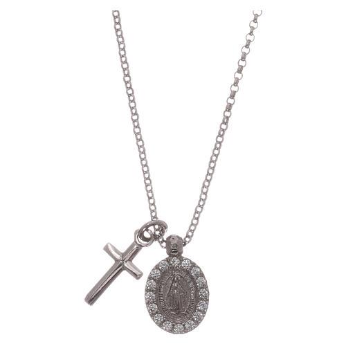 Naszyjnik AMEN ag 925 rodowane cyrkonie białe Krzyż Cudowna Madonna 1