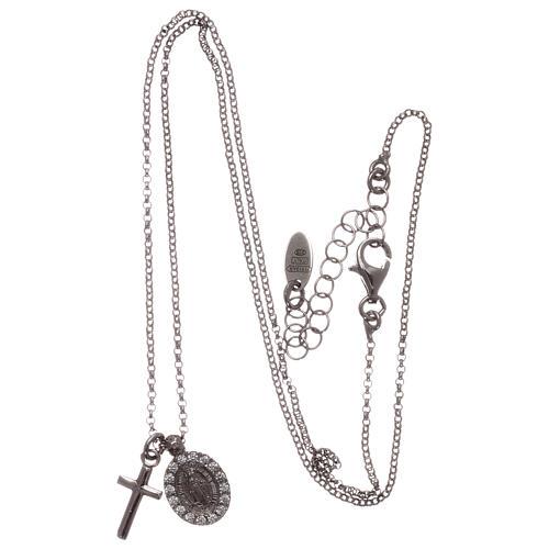 Naszyjnik AMEN ag 925 rodowane cyrkonie białe Krzyż Cudowna Madonna 3