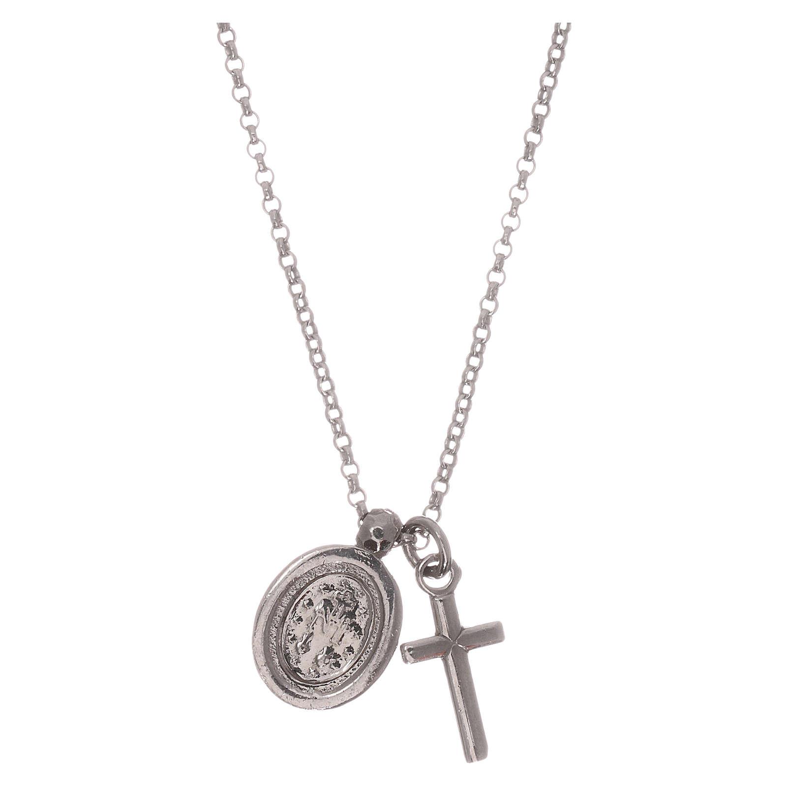 Colar AMEN prata 925 radiada zircões brancos cruz Virgem Milagrosa 4