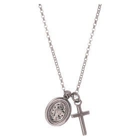 Colar AMEN prata 925 radiada zircões brancos cruz Virgem Milagrosa s2