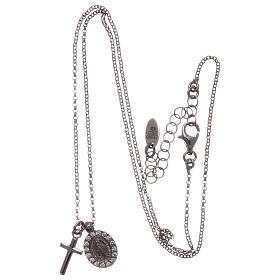 Colar AMEN prata 925 radiada zircões brancos cruz Virgem Milagrosa s3