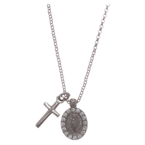 Colar AMEN prata 925 radiada zircões brancos cruz Virgem Milagrosa 1