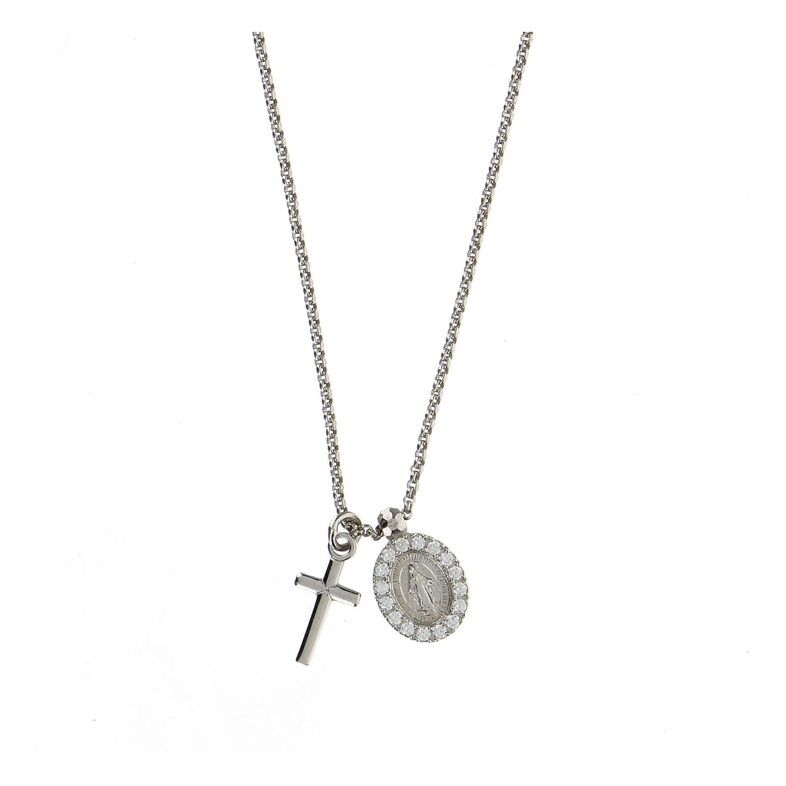 AMEN Necklace 925 silver finished in rhodium cross and miraculous medal with white zircons 4