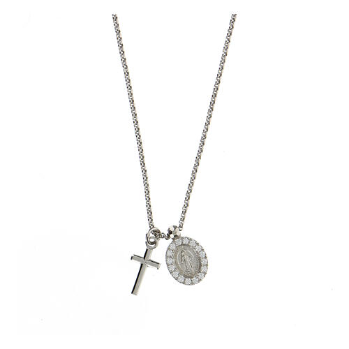 AMEN Necklace 925 silver finished in rhodium cross and miraculous medal with white zircons 1