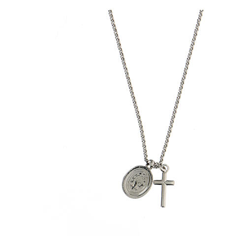 AMEN Necklace 925 silver finished in rhodium cross and miraculous medal with white zircons 2