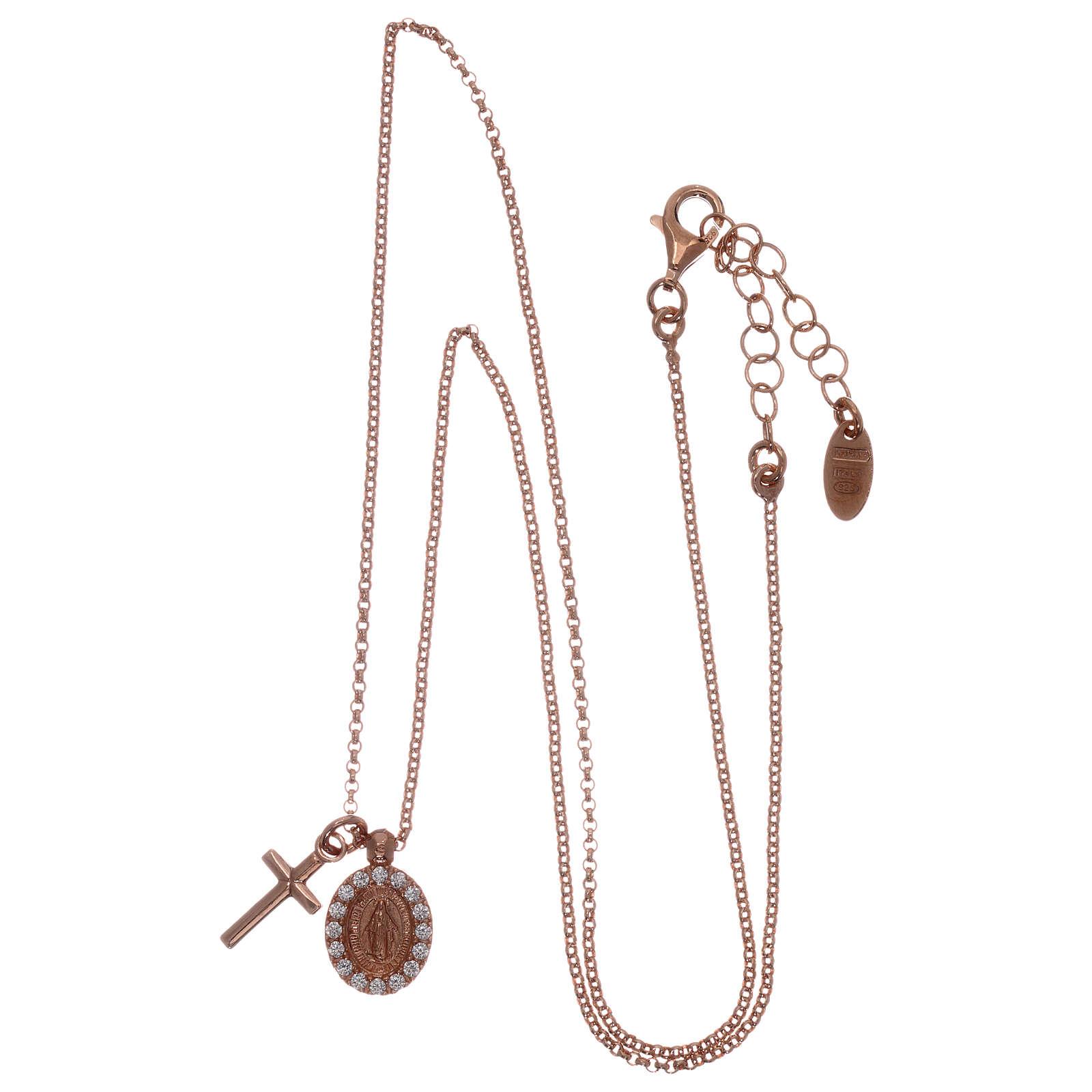 Collar AMEN plata 925 rosada zircones blancos cruz virgen milagrosa 4