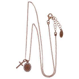 Collar AMEN plata 925 rosada zircones blancos cruz virgen milagrosa s3