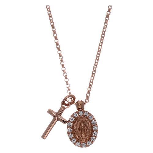 Collar AMEN plata 925 rosada zircones blancos cruz virgen milagrosa 1