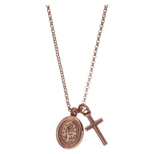 Collar AMEN plata 925 rosada zircones blancos cruz virgen milagrosa 2