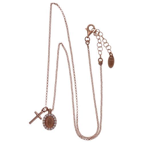 Collar AMEN plata 925 rosada zircones blancos cruz virgen milagrosa 3
