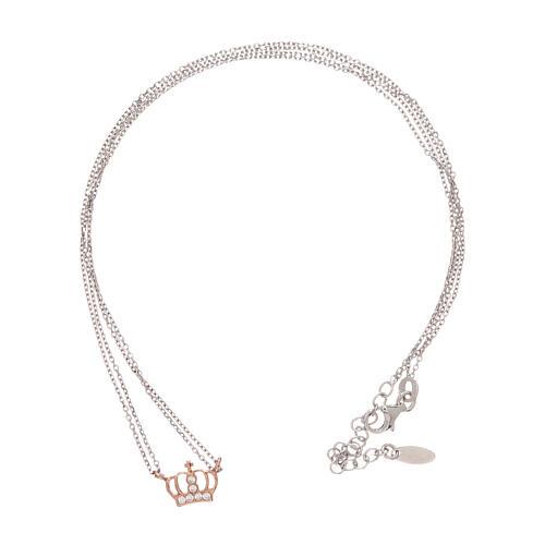 Collar AMEN plata 925 rodiada/rosada corona zircones blancos 3