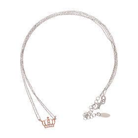 Collana AMEN arg 925 finitura rodiata/rosé corona zirconi bianchi s3