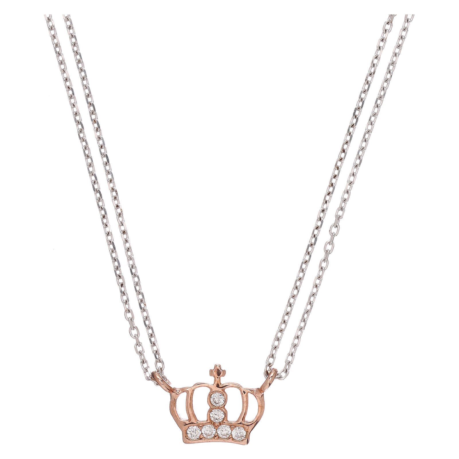 AMEN Necklace 925 silver rhodium/rosé finish crown with white zircons 4