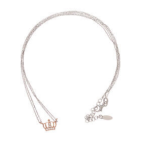 AMEN Necklace 925 silver rhodium/rosé finish crown with white zircons s3