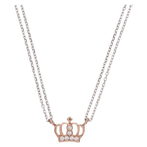 AMEN Necklace 925 silver rhodium/rosé finish crown with white zircons 1