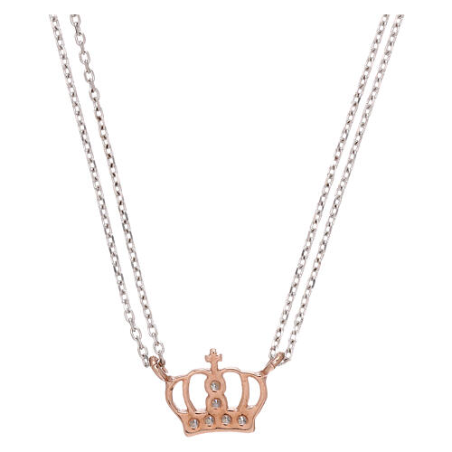 AMEN Necklace 925 silver rhodium/rosé finish crown with white zircons 2