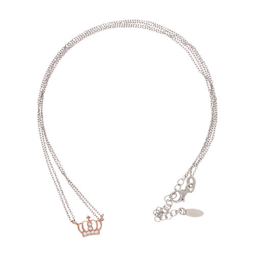 AMEN Necklace 925 silver rhodium/rosé finish crown with white zircons 3