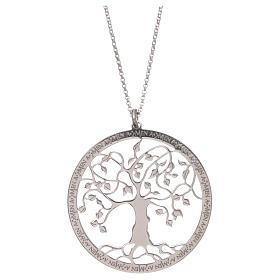 Pingentes, Cruzes, Broches, Correntes: Colar AMEN prata 925 acabamento rodiado árvore da vida