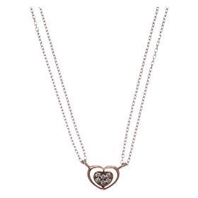 Pingentes, Cruzes, Broches, Correntes: Colar AMEN prata 925 radiada/rosé coração zircões brancos