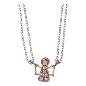 Pingentes, Cruzes, Broches, Correntes: Colar AMEN prata 925 radiada/rosé anjo zircões brancos