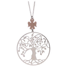 Pingentes, Cruzes, Broches, Correntes: Colar AMEN prata 925 rodiada/rosé anjo árvore da vida