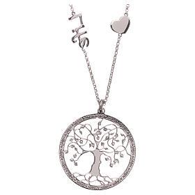 Pingentes, Cruzes, Broches, Correntes: Colar AMEN prata 925 rodiada árvore da vida
