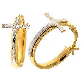 Pingentes, Cruzes, Broches, Correntes: Brincos de argola AMEN prata 925 ouro
