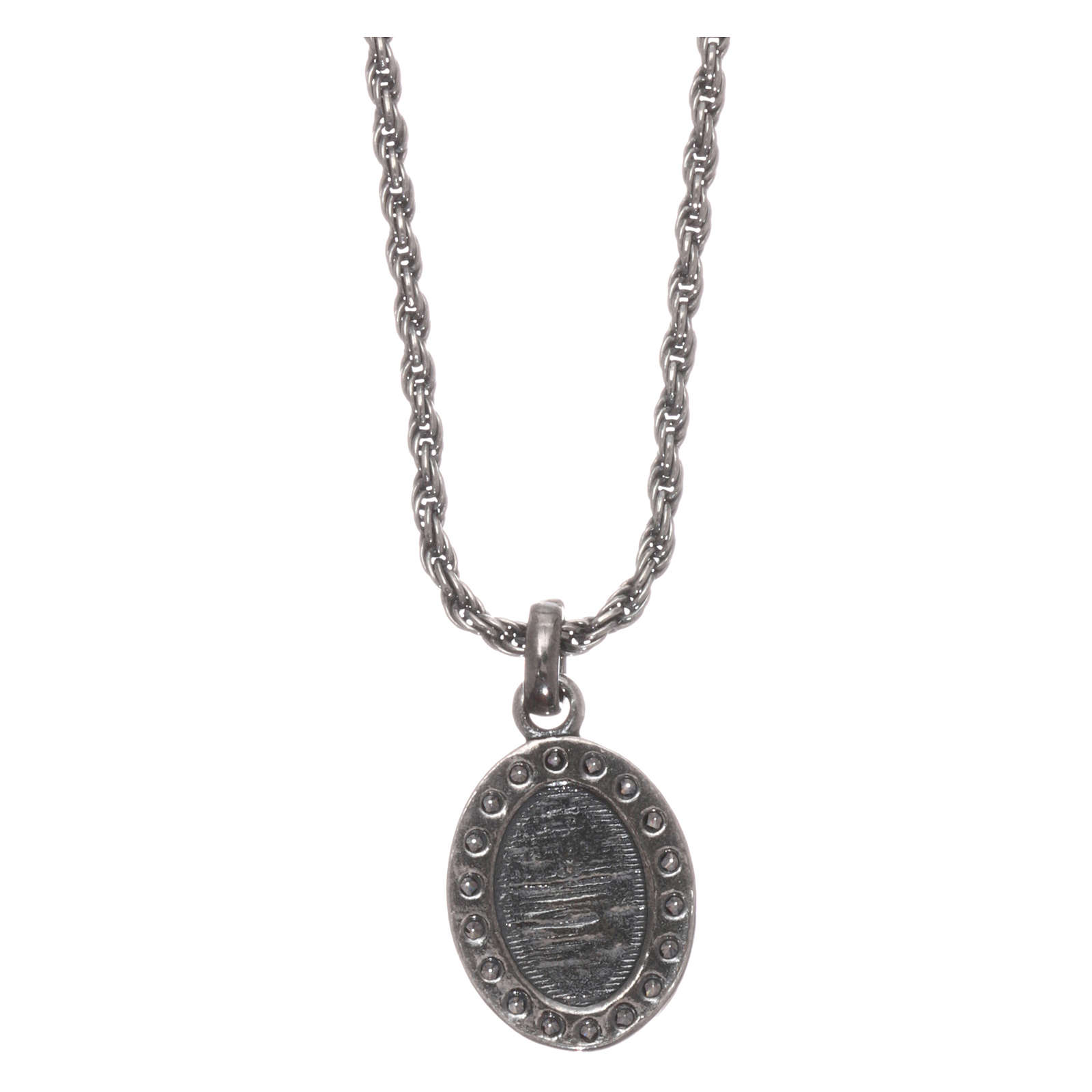 AMEN necklace in 925 silver burnished with white zircons Sacred Heart 4