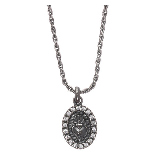 AMEN necklace in 925 silver burnished with white zircons Sacred Heart 1