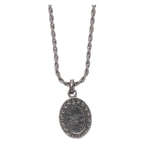 AMEN necklace in 925 silver burnished with white zircons Sacred Heart 2