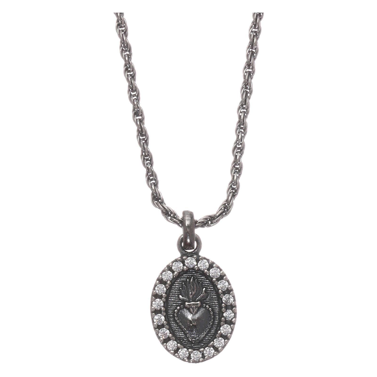 Collar AMEN plata 925 bruñida zircones blancos Sagrado Corazón 4