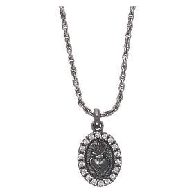 Collar AMEN plata 925 bruñida zircones blancos Sagrado Corazón s1