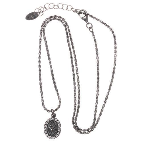 Collar AMEN plata 925 bruñida zircones blancos Sagrado Corazón 3
