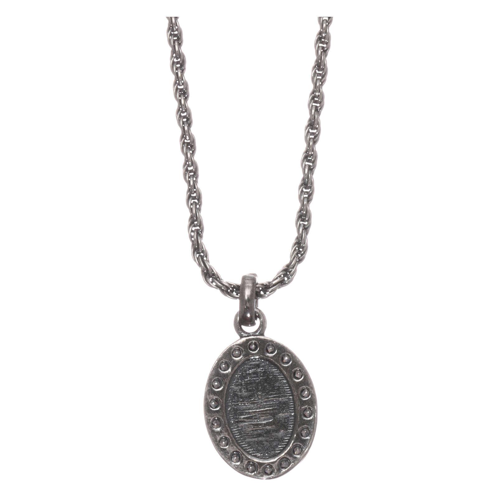 Colar AMEN prata 925 brunida zircões brancos Sagrado Coração 4