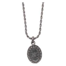 Colar AMEN prata 925 brunida zircões brancos Sagrado Coração s2