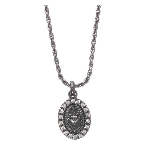 Colar AMEN prata 925 brunida zircões brancos Sagrado Coração 1
