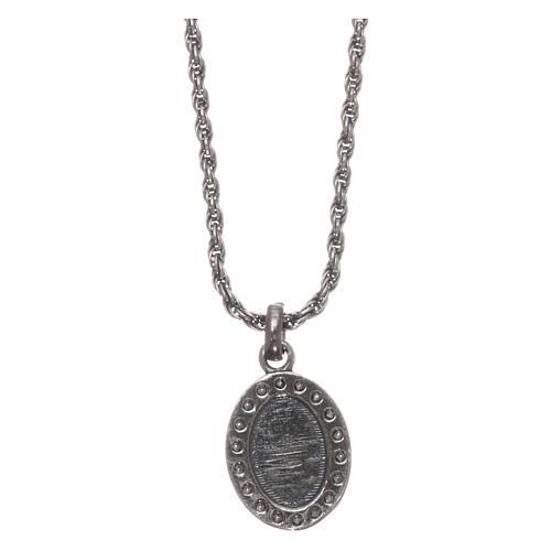 Colar AMEN prata 925 brunida zircões brancos Sagrado Coração 2