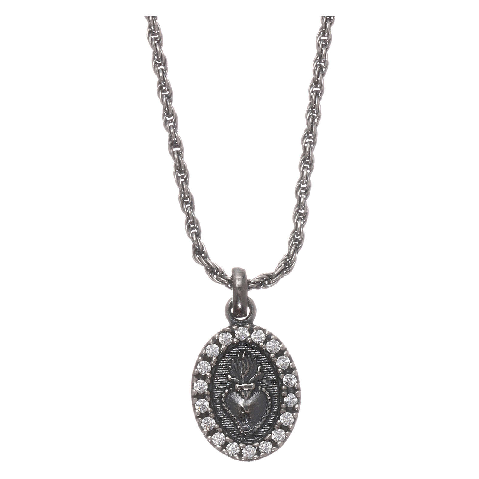 AMEN Necklace burnished 925 sterling silver Sacred Heart white zircons 4