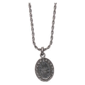 AMEN Necklace burnished 925 sterling silver Sacred Heart white zircons s2
