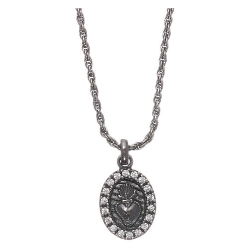 AMEN Necklace burnished 925 sterling silver Sacred Heart white zircons 1
