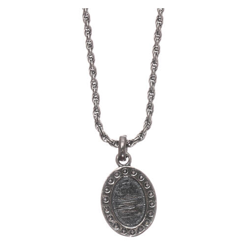 AMEN Necklace burnished 925 sterling silver Sacred Heart white zircons 2
